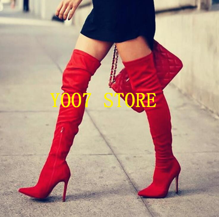 2019 Brand Stretch Suede Leather Thigh High Heels boots Women Winter Boots Stiletto Heels Sexy Over the Knee Crotch Boots 43