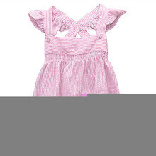 Fashion Summer Toddler Infant Baby Girls Holiday Clothes Pink Striped Bodysuit Newborn Gifts