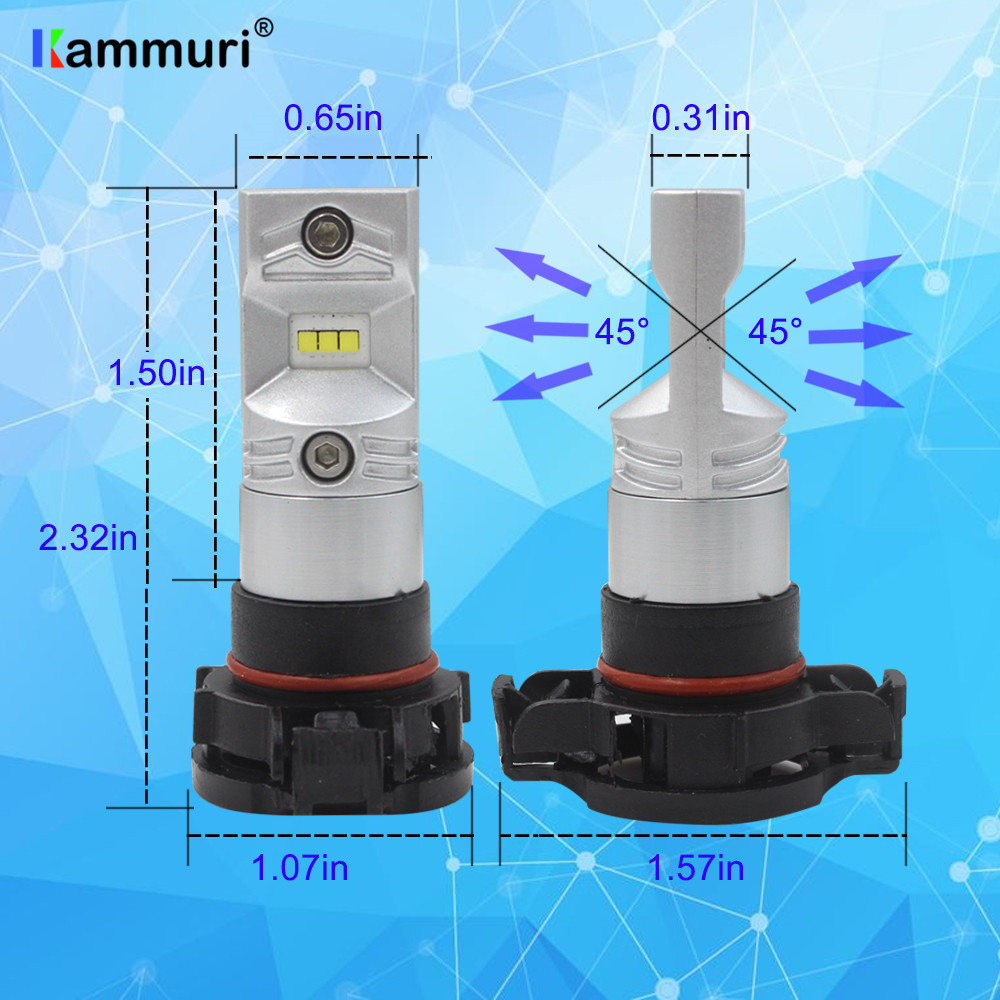 KAMMURI CANBUS H16 5202 PS19W LED Bulbs for AUDI A3 8P 2008 LED Daytime running lights DRL BULB No error Whit 6000K 2pcs in Signal Lamp from Automobiles Motorcycles