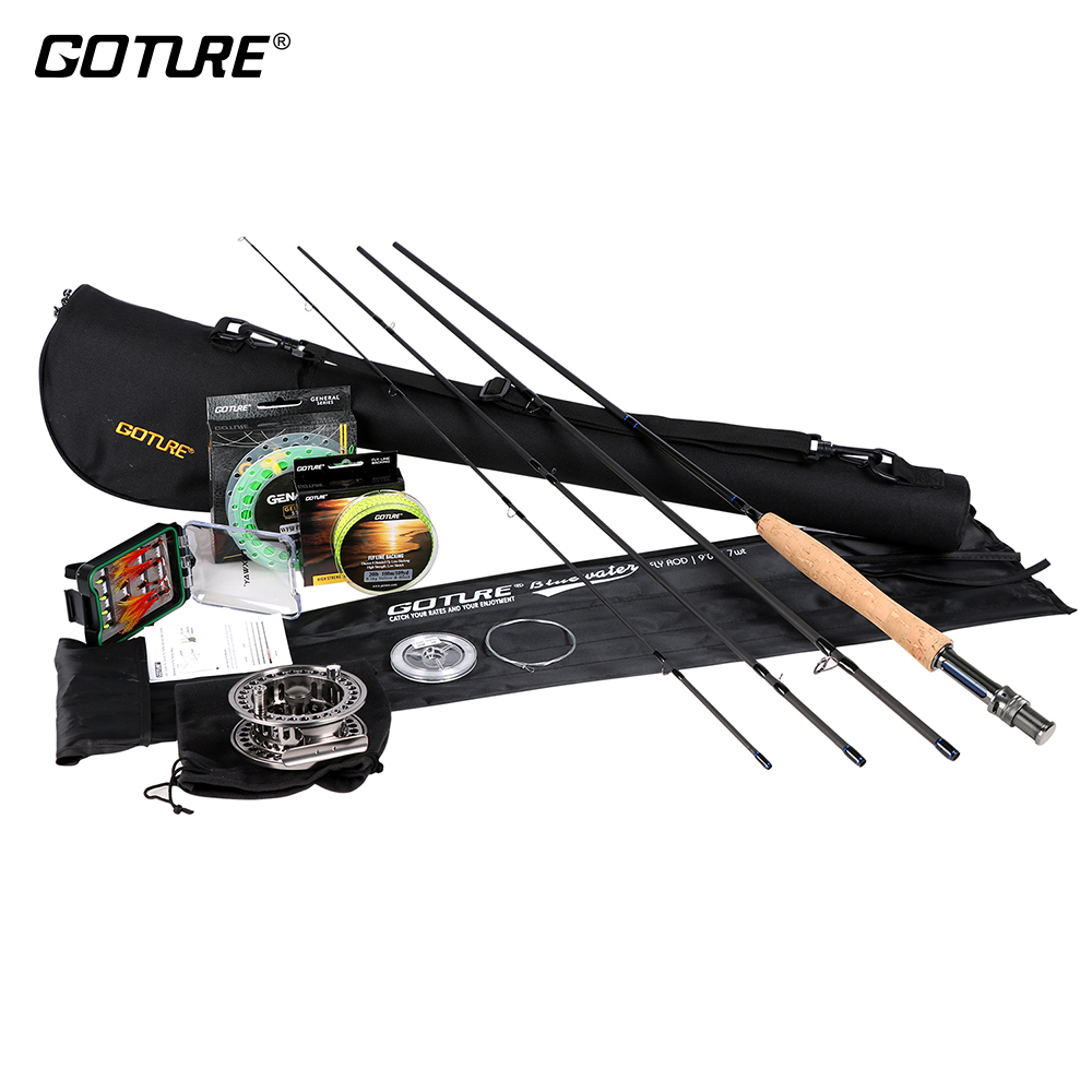 Goture Fly Fishing Set Kit 2.7M 5WT/7WT Bluewater Fly Rods 5/6 7/8 Aluminum Fly Reel with Lures and Lines Bag Rod Combo 32pcs set assorted nymph fishing fly combo trout bass blue gill panfish artificial lures with free double faced waterproof tac