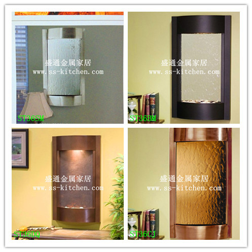 2015 New Style wall mounted water fountain wall decor silver mirror bronze mirror wall stickers art Decals home Decoration