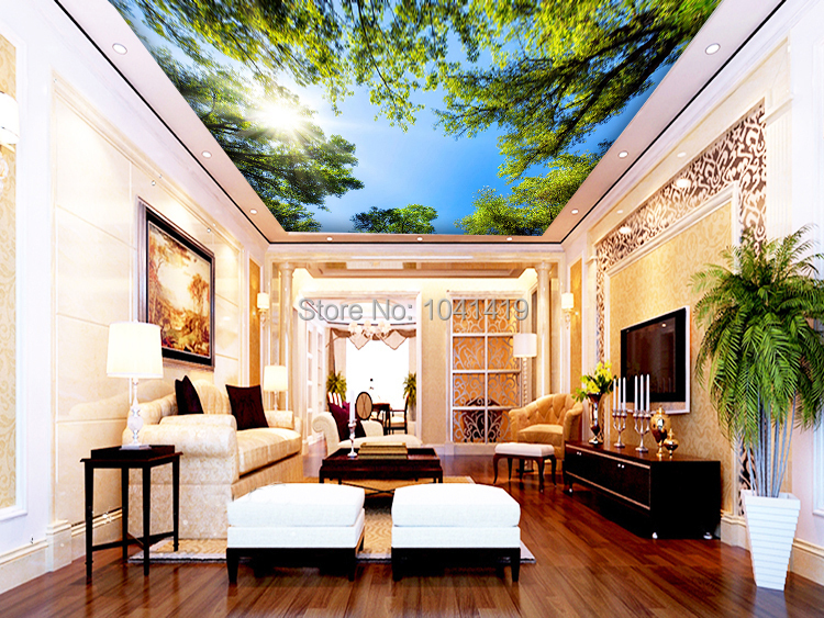 Custom 3D Wall Mural Wallpaper Landscape Sky Ceiling Mural Wallpaper Sunlight Green Forest Hotel Restaurant Living Room Backdrop