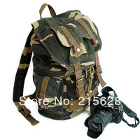 Camouflage Professional canvas DSLR camera backpack slr photo case rucksack knapsack for canon Nikon Pentax fujifilm+raincover