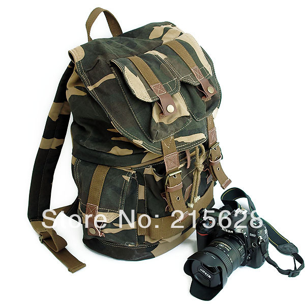 Camouflage Professional canvas DSLR camera backpack slr photo case rucksack knapsack for canon Nikon Pentax fujifilm+raincover цена и фото