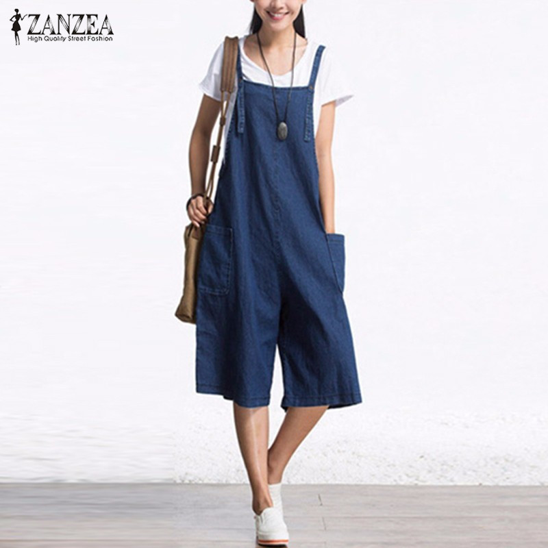 ZANZEA Womens Wide Kaki Jumpsuits Retro 2018 Tanpa lengan Tali laras Pockets Button Rompers Calf Panjang pakaian 3 Warna