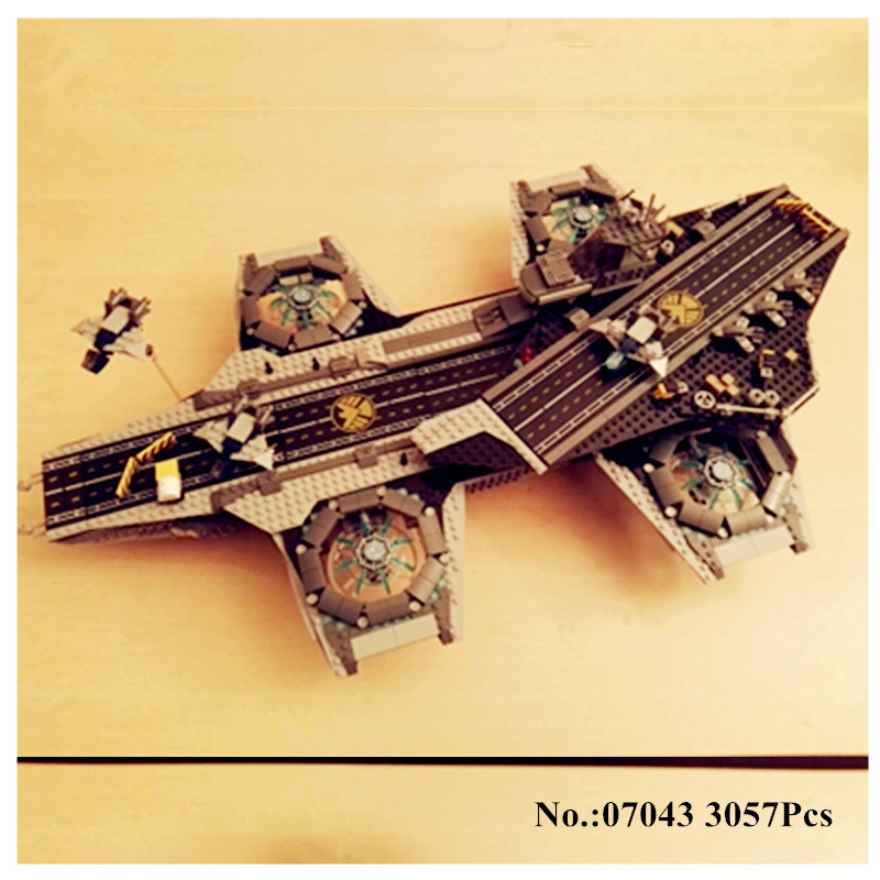 H&HXY 3057Pcs 07043 SY911 Super Heroes The SHIELD Helicarrier LEPIN Model Building Kits  Blocks Bricks Toys Compatible 76042 dhl lepin 07043 3057pcs super heroes the shield helicarrier model building kits blocks bricks boy toys compatible 76042
