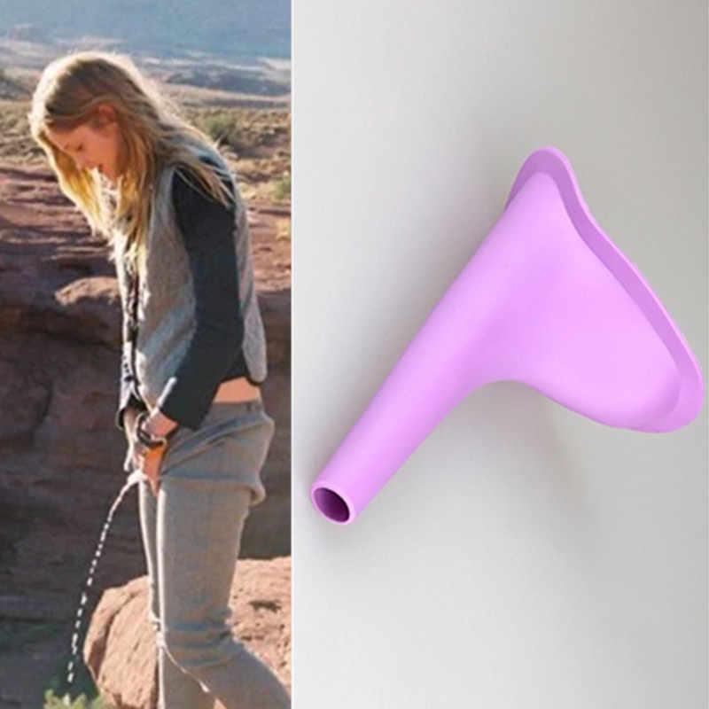 女性便器屋外旅行キャンプポータブル女性便器トイレソフトシリコーン排尿デバイススタンドアップ & おしっこトイレタリーキット 1 個