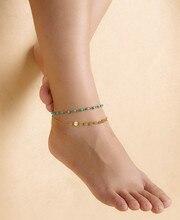 1 unid nuevas sandalias de playa mujer cadena de pie tobilleras de oro plateado granos de la turquesa de las borlas del tobillo pulsera para mujer de la joyería