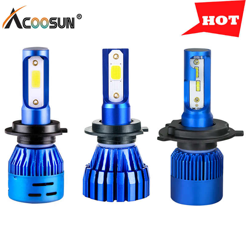 AcooSun H7 led H4 Car headlight Bulbs led H11 H1 12V Autolight led HB4 HB3 9005 9006 lampada Low Beam 72W 6500K Automobiles lamp