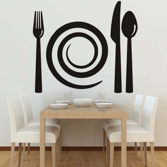 Spiral Plate And Cutlery Wall Decal, Black Pattern Removable Vinyl Wall  Sticker Art, Dining