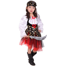 7 Sets lot Free Shipping Children Girls Pirate Costumes Carnival Halloween Masquerade Party Kids Fancy Dress