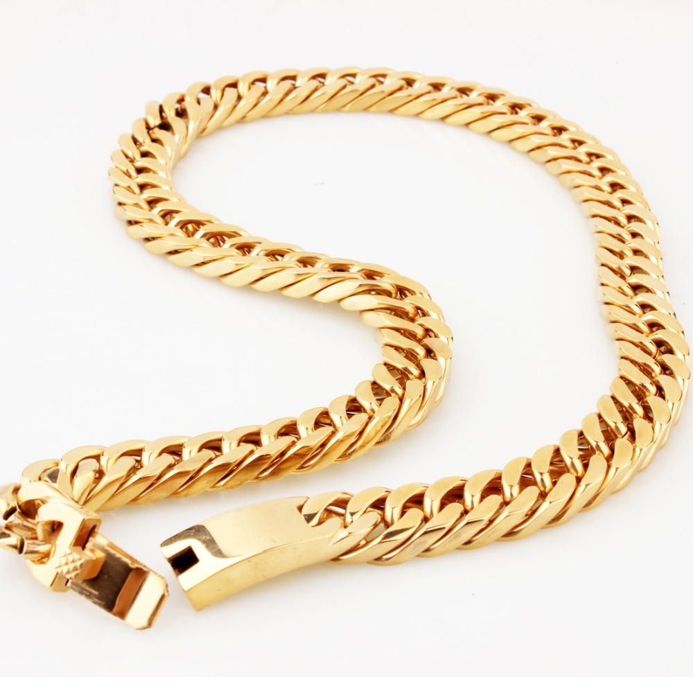 15mm 7-40inch New Arrive Stainless Steel Golden Punk Cuban Curb Chain Fashion Men's Boy's Necklace Or Bracelet Jewelry Xmas Gift