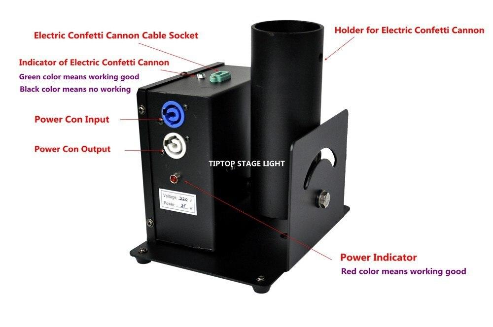 confete streamer lançador controle dmx potência com entrada de saída