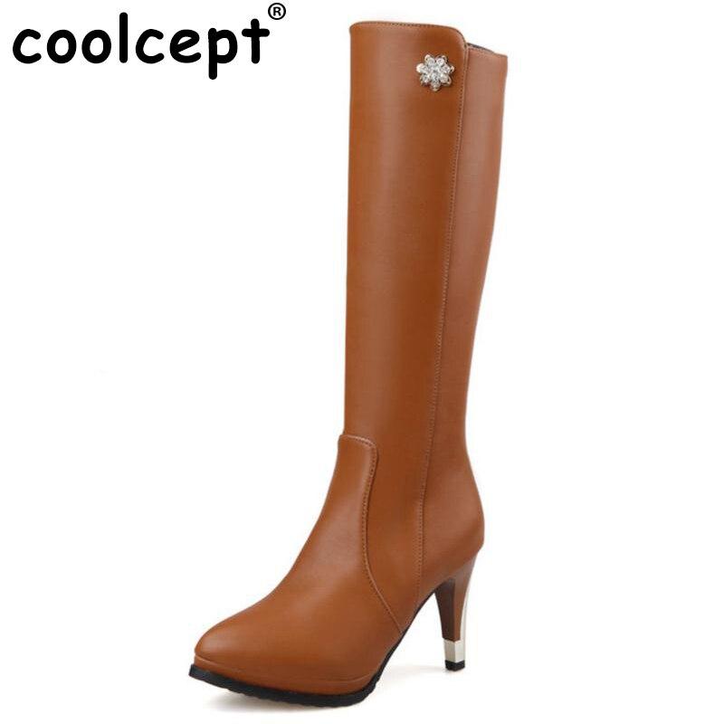 Coolcept/Размер 30-52 Женские Сапоги выше колена на высоком каблуке Модные теплые сапоги для верховой езды с острым носком качественная обувь на к...