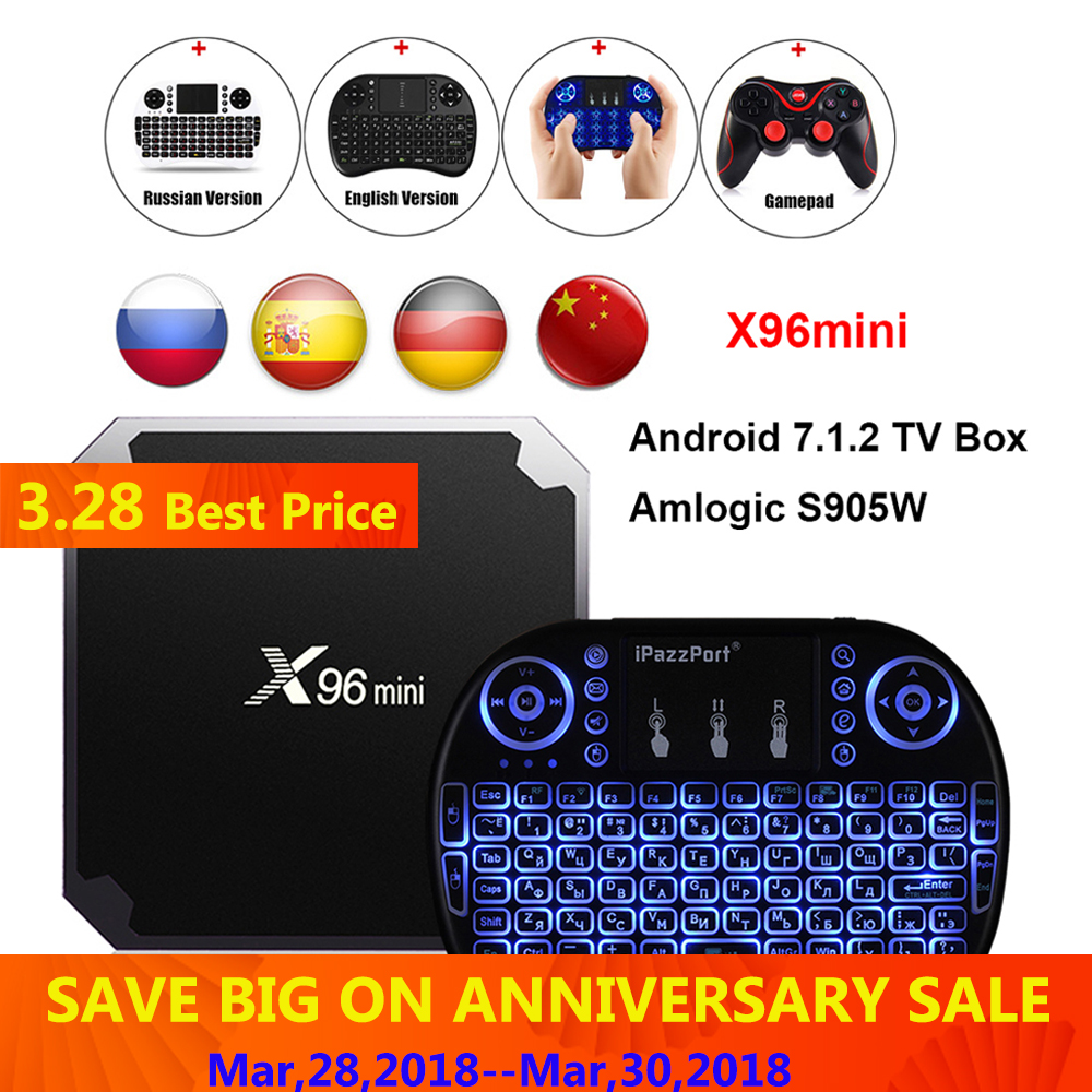 X96mini Android 7.1.2 TV Box Amlogic S905W 2 GB RAM + 16 GB ROM/1 GB + 8 GB Quad Core WIFI HDMI 4 Karat * 2 Karat HD Smart Set Top BOX Media Player