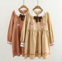 2018 Spring Japanese Style Women Bear Cartoon Pattern Cute Dress High Waist Peter Pan Collar Dress