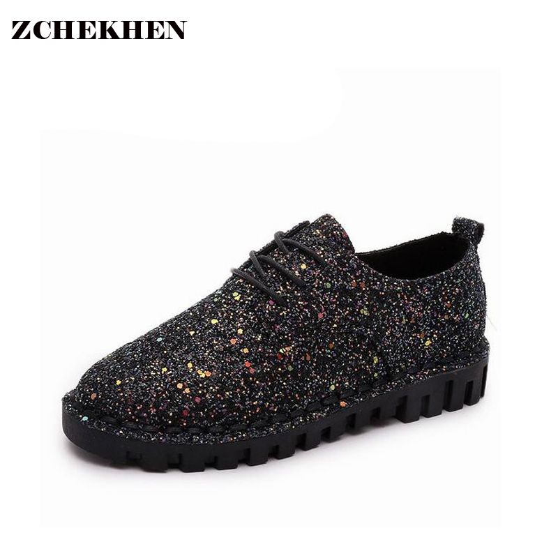 Autumn spring bling Sequins Single Shoes Flat Bottomed Lace up Shoes Leisure Women Shoes 2017 Fashion