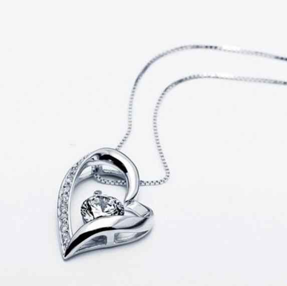 السائبة الأرجواني/واضح قلادة قلادة مجموعة الفضة والمجوهرات مكعب الزركون القلب قلادة قلادة سيدة مجوهرات اكسسوارات 925
