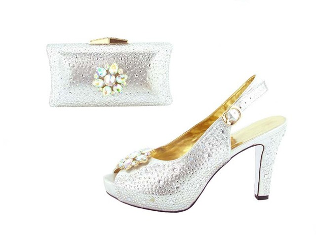 Silver wedding shoes and clutches bag with many stones free shipping by DHL  4 colors available hand made shoes bag HMS002 efa5259741a6