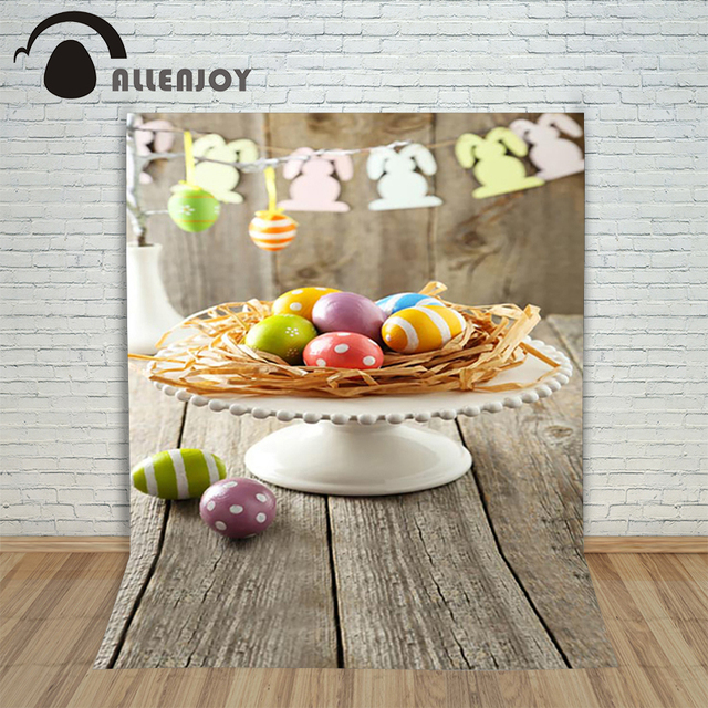 Allenjoy Easter Backdrop Happpy Easter Eggs Wood Plate With Rabbit Paper  Cutting Baby Background For Photos