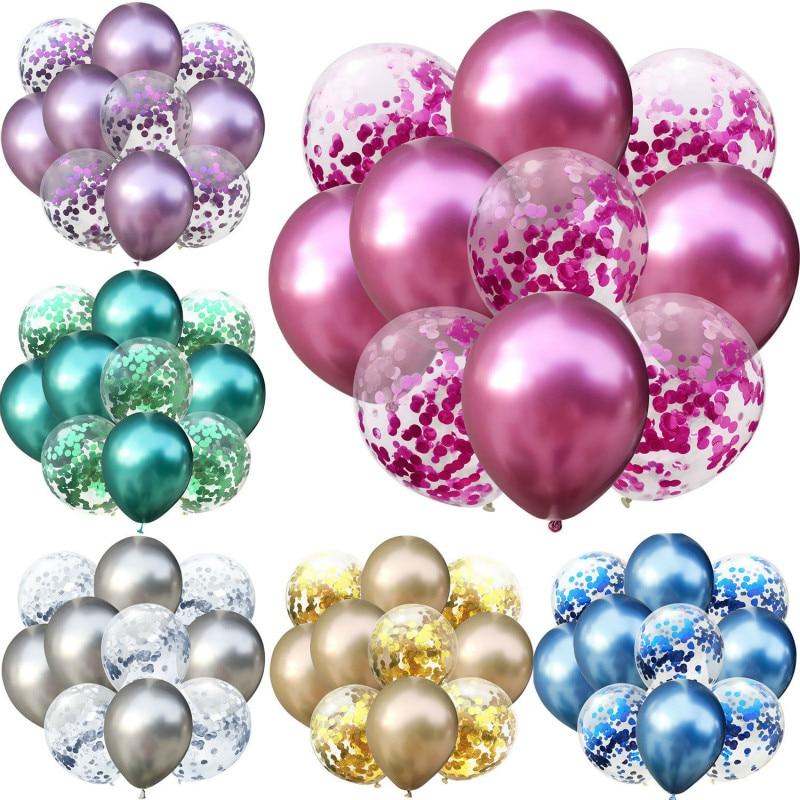 10pcs lot 12 inch 5PCS Metal Color  5PCS Confetti Latex Balloons Kids Baby Birthday Party Decoration Balloons Cartoon Hat Toy