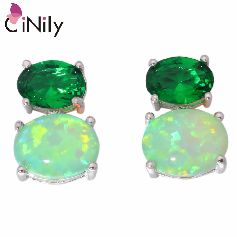 CiNily Fire Opal Batu Stud Earrings Perak Disepuh Besar Oval Hijau - Perhiasan fashion