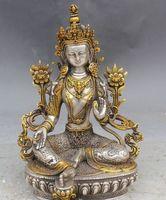 9 Tibet Silver Gilt Green Tara Mahayana Buddhism enlightenment Goddess Statue A