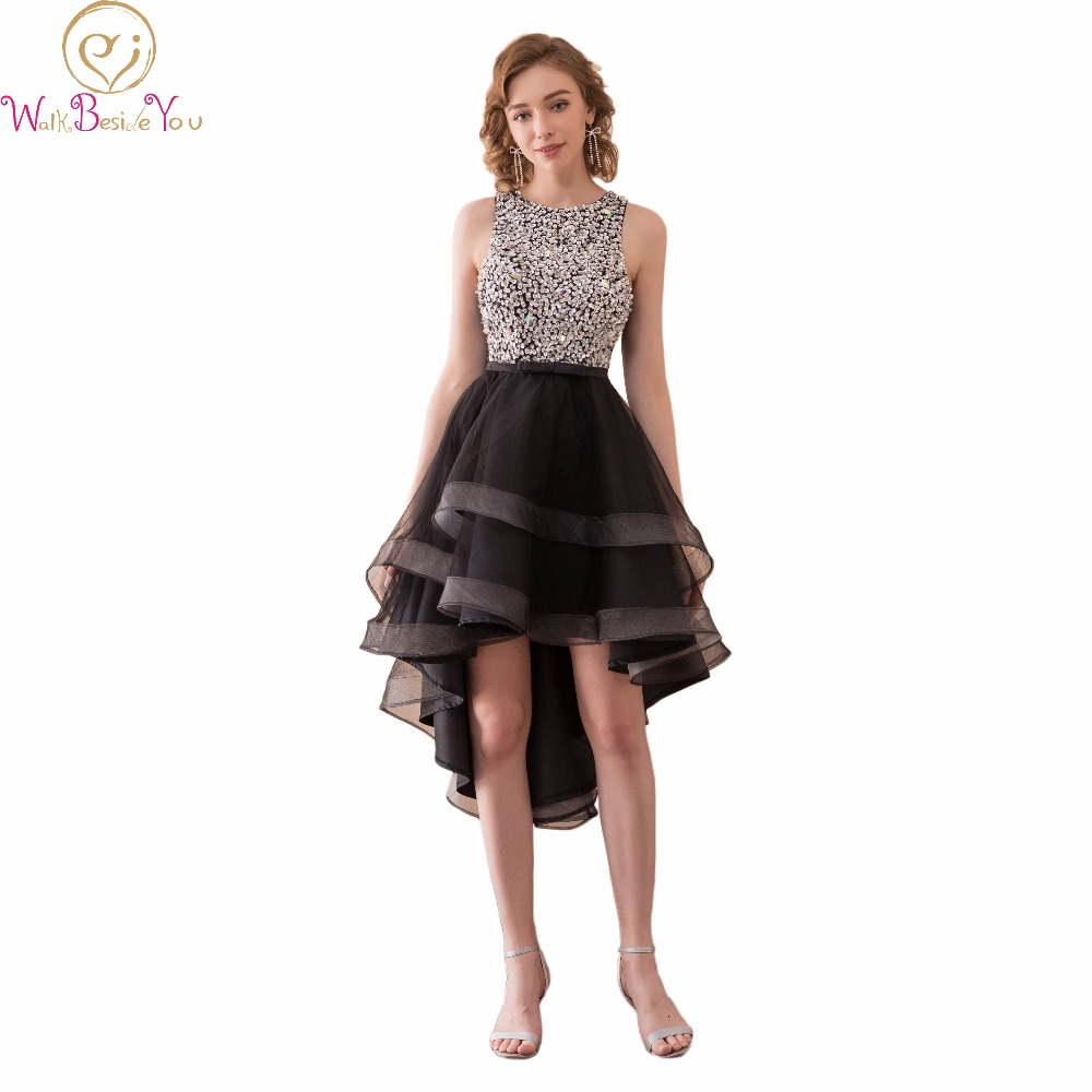 Walk Beside You Black   Cocktail     Dresses   Party Beaded Bodice Short Front Long Back A-line Formal Gowns Women   Dress   Elegant Stock
