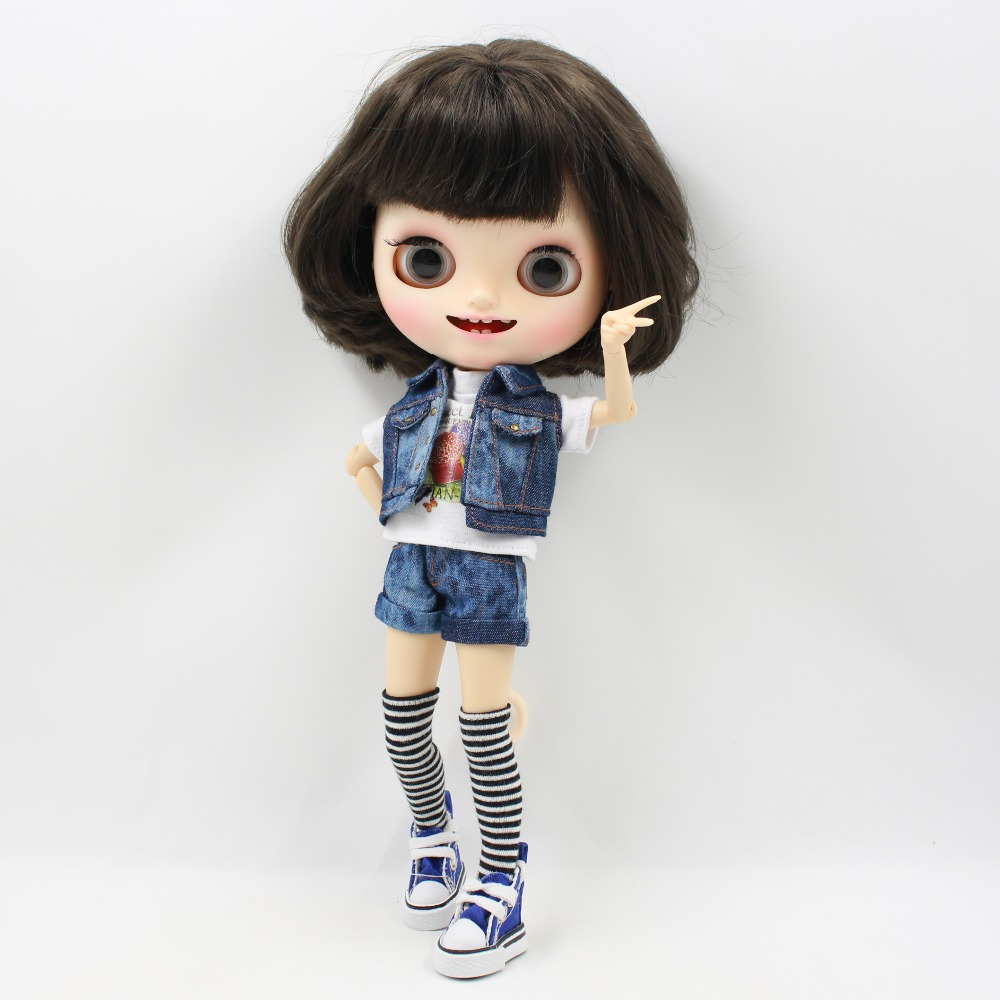 Neo Blythe Doll Denim Outfit Shorts with Vests Stockings 2