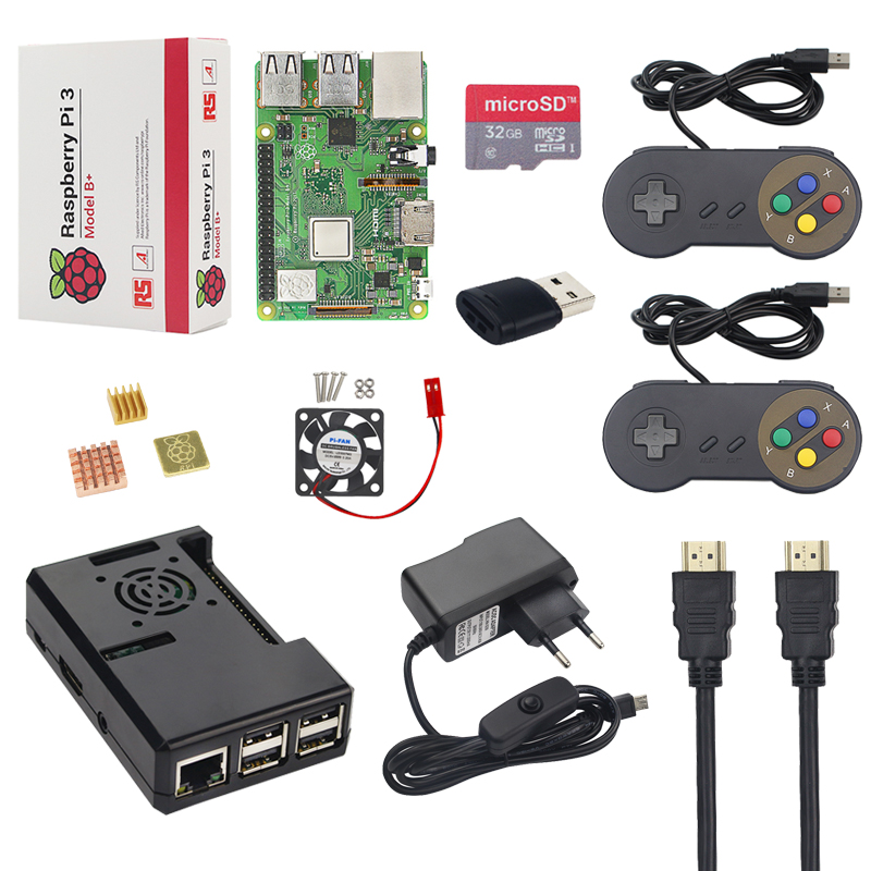 New Raspberry Pi 3 Model B+ Plus Starter Kit +16G 32G SD Card + Gamepad + Case +Fan + Power +Heat Sink +HDMI Cable for RetroPie