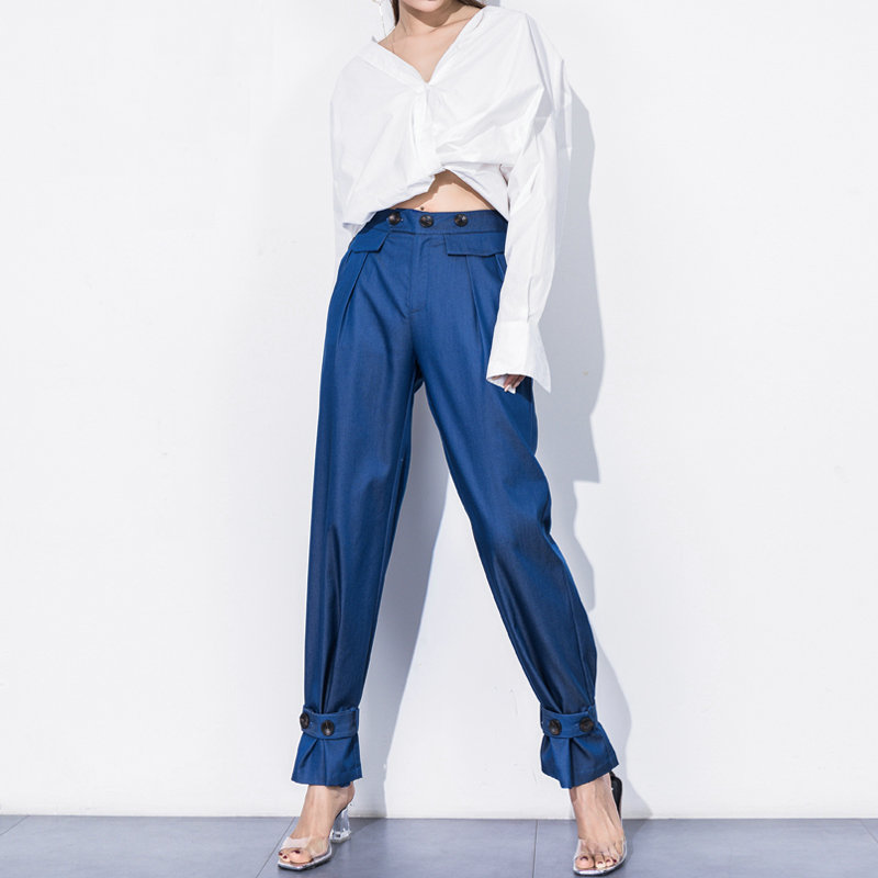2018 New Fashion Harem pants women Casual Loose high Waist Wide Leg pants Capri pants Bloomers with Belt Button Decor Pants