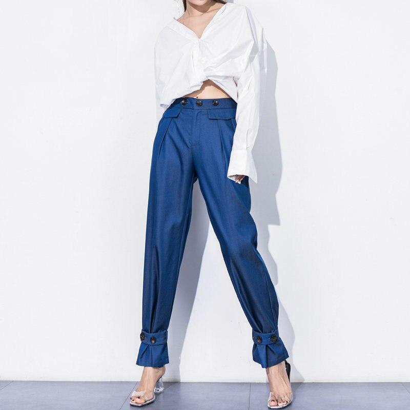 2018 nouveau mode Harem pantalon femmes décontracté lâche taille haute large jambe pantalon Capri pantalons Bloomers avec ceinture bouton décor pantalon