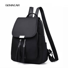 Casual Womens Backpack Lightweight Black Female Oxford Cloth Fringed Decorative Youth