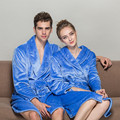 2016 New Designer Flannel Bath Robe Women Men Couple Bathroom Robe Men Bathrobe Pajama Thick Long Spa Robe Shower Homewear Blue