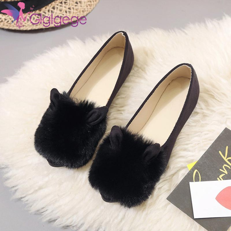 Glglgege Rabbit Ears Women Flat Shoes, Fall Winter Soft Flock Furry Loafers Casual Shoes, Female Fur Slip-on Leisure Flats