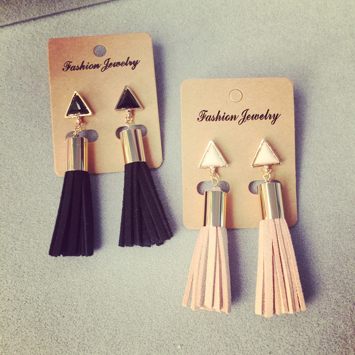 Knock Tassel Drop Earrings Faux Suede Fabric Long Dangle Earrings for Women Fine Jewelry Wholesale jewelry