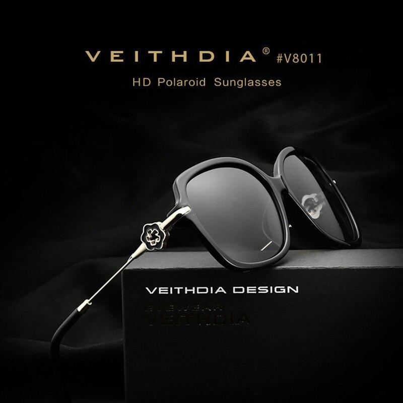VEITHDIA TR90 Women Sun glasses Polarized Mirror Lens Luxury Flower Brand Designer Sunglasses women oculos de