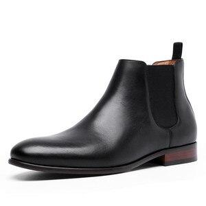 Image 3 - 2020 Echt Leer Mannen Laarzen Herfst Winter Enkellaars Mode Schoenen Slip Op Schoenen Mannen Business Casual Hoge Top Mannen schoenen