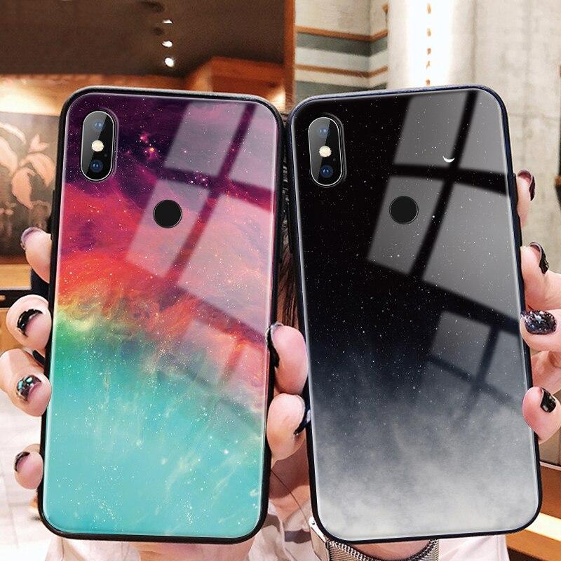 For Xiaomi Redmi 7 5 Plus K20 S2 Note 4 4X 5 6 7 Pro Colorful Glass Cover Phone Case For Xiaomi Mi 8 Lite 9 SE A1 A2 Lite Coque