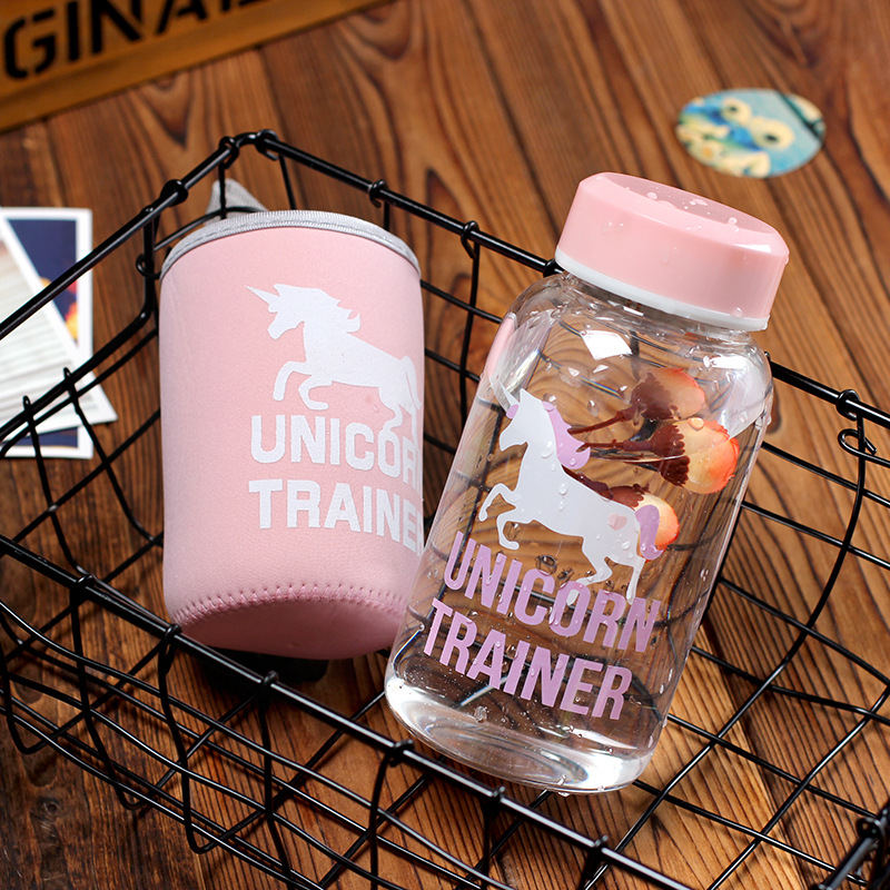 With Cover Protection Kids Milk Bottle Unicorn Pattern English Letter Sport Portable Water 600ml