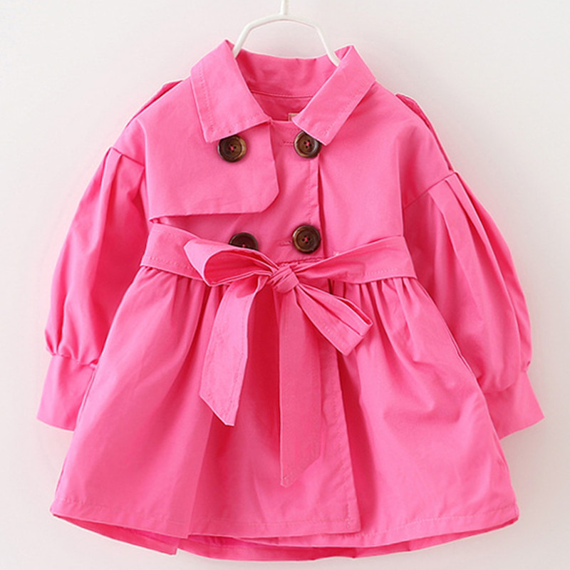 Alice Autumn winter children's clothing baby girl windbreaker fashion solid color top for 1-6Yrs old kids K1 2