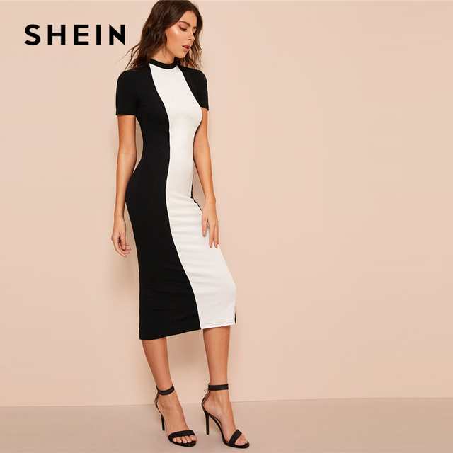 SHEIN Black and White Colorblock Bodycon Pencil Midi Dress Without Belt Women Stand Collar Weekend Casual Long Sheath Dress 3