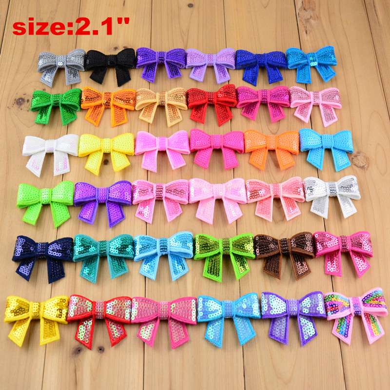 300pcs lot Wholesale 2 1 Mini Sequined Bows Knot Applique Boutique Bow Supply Girls Hair Accessories