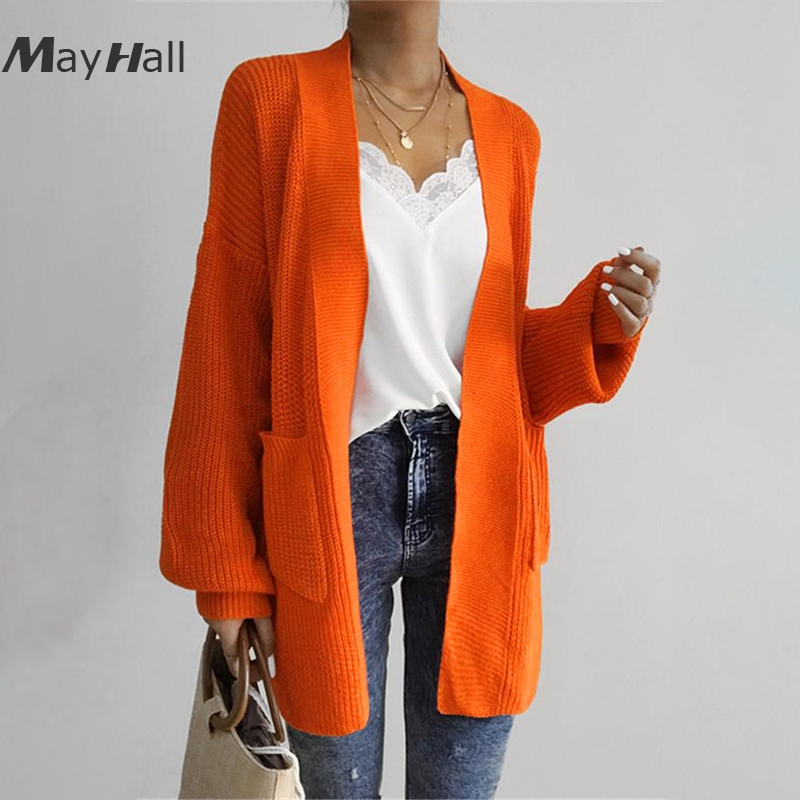 comprar popular 512e3 d508a US $19.99 40% OFF|MayHall Long Lantern Sleeve Cardigan with Pocket Autumn  Casual Sweater Loose Jumper Knitted ropa invierno mujer 2018 MH366-in ...