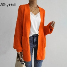 MayHall Long Lantern Sleeve Cardigan with Pocket Autumn Casual Sweater Loose Jumper Knitted ropa invierno mujer 2018 MH366