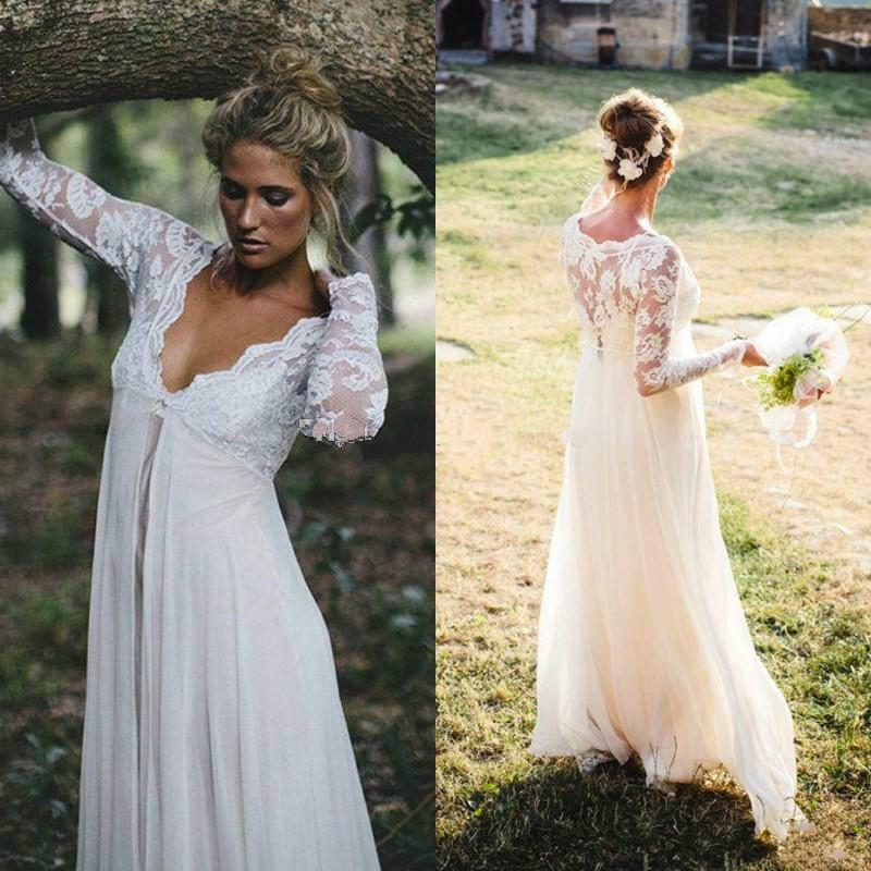 81717e6904c63 Empire Waist Lace Wedding Dresses Floor Length Chiffon Long Sleeves Sexy V  Neck Beach Maternity Bridal Gowns Custom Made