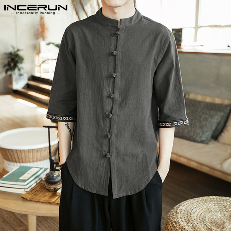 INCERUN Vintage Men Shirt Cotton Button 3/4 Sleeve 2019 Chinese Style Shirts Men Solid Stand Collar Casual Tops Camisa Masculina