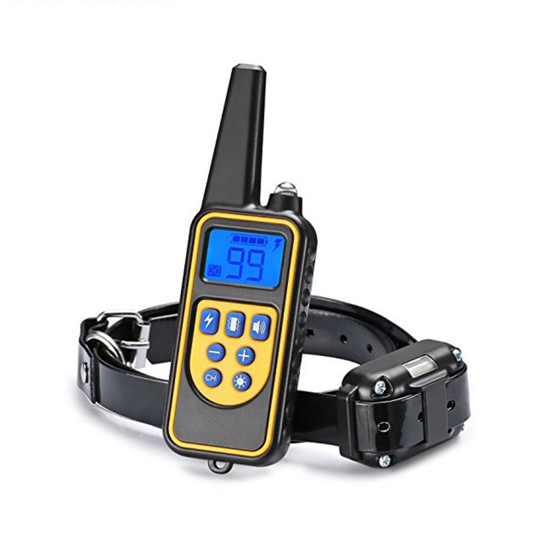 Wiederaufladbare Wasserdichte Elektronische Hund Erziehungshalsband Aufhören Zu Bellen LCD Display 800 mt Fernbedienung Elektronische Hundeschlag-trainings Halsbänder