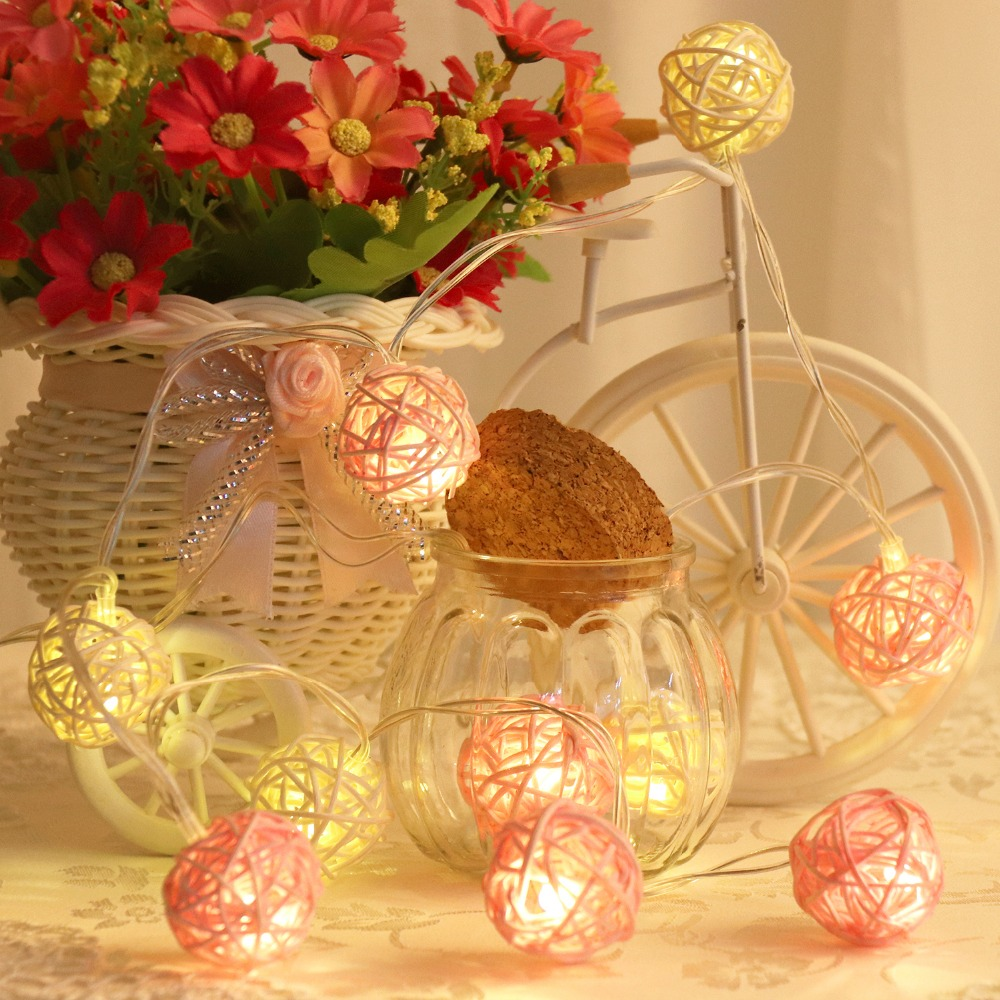 120cm/150cm 10 LED Rattan Balls Light String Fairy Holiday Garland Christmas Outdoor Party Decoration Gerlyanda USB/Battery JQ