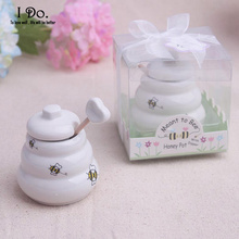 Free Shipping Ceramic Meant to Bee Honey Jar Wedding Favors And Gifts For Guests Souvenirs Decoration Event & Party Supplies